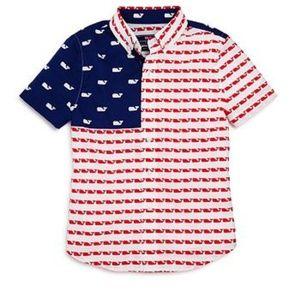 Vineyard Vines Boys SS USA Whale Flag Murray Shirt